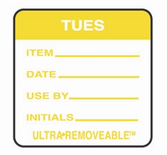 "TUESDAY USE BY LABELS 2""x2"""" 500"