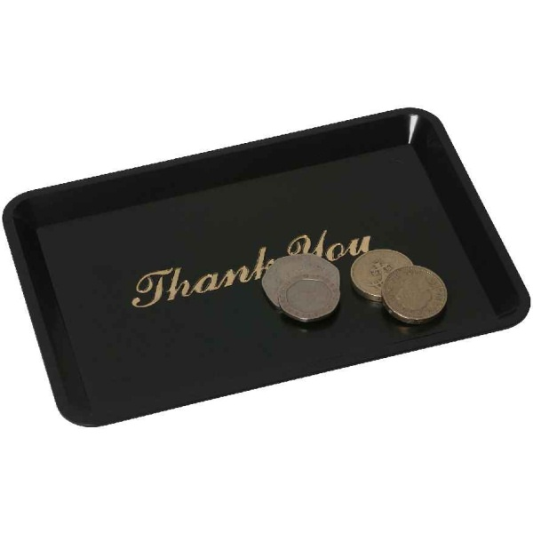 "TIP TRAY 'THANK YOU' BLACK 4.1/2""X6.1/2""-3022-03"
