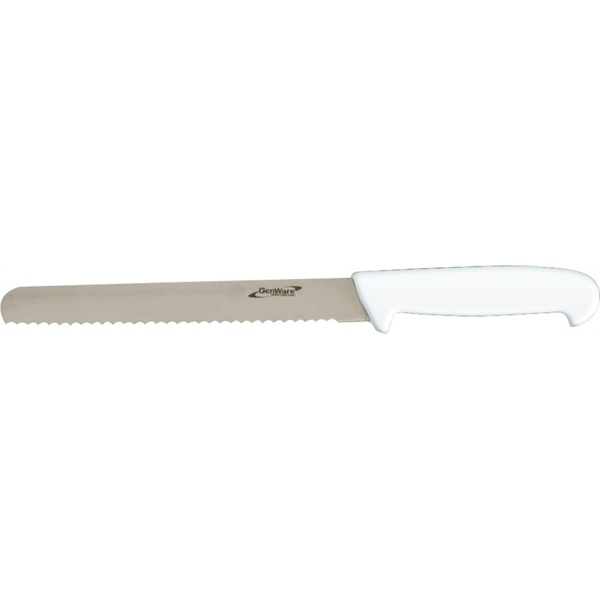 "GENWARE BREAD KNIFE (SERRATED) 8"" WHITE - K-BR8W"