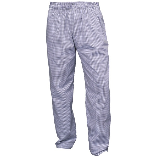 BLUE/WHITE CHECK TROUSERS ELASTICATED WAIST - SMALL