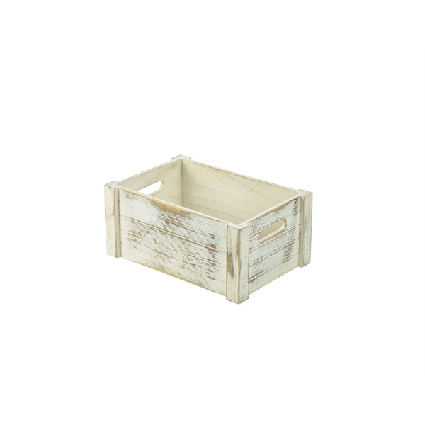 WOODEN CRATE WHITE WASH FINISH 34X23X15cm - WDC-3423W