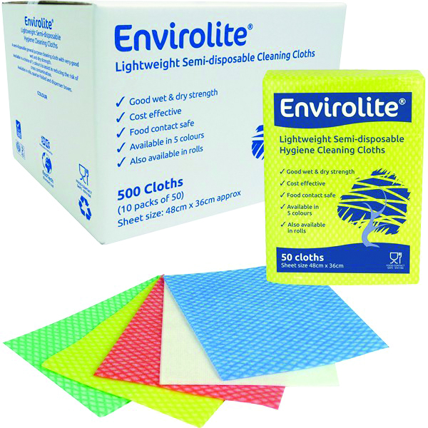 ENVIROLITE RED FOLDED CLEANING CLOTHS  PACK OF 50