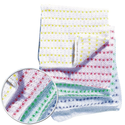 BIOFRESH KNITTED DISHCLOTH WITH RED STRIPE   PACK OF 10