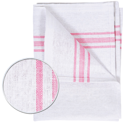 WHITE TEA TOWEL WITH COLOURED BORDER   PACK OF 10