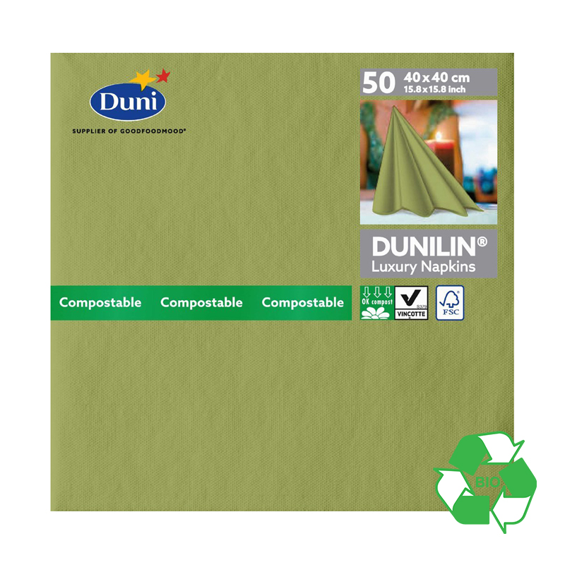 DUNILIN HERBAL GREEN NAPKINS CASE OF 600   165384