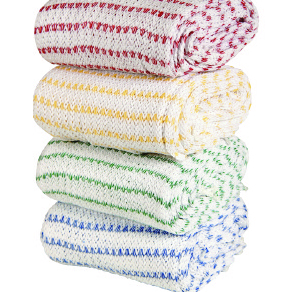 BIOFRESH KNITTED DISHCLOTHS WITH GREEN STRIPE   PACK OF 10
