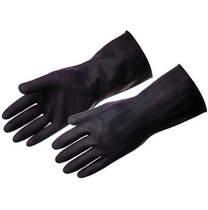 HEAVY DUTY BLACK RUBBER GLOVES MED (8.5-9) PACK OF 10 PAIRS