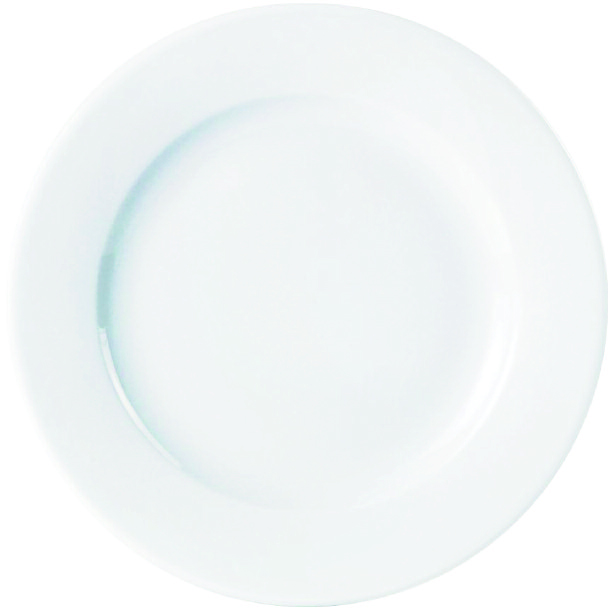 "WHITE VITREOUS 10.1""  25.6cm WIDE RIM PLATE"