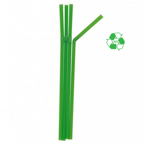 "8"" BENDY STRAWS GREEN BOX 250 BIODEGRADEABLE 5mmBore"