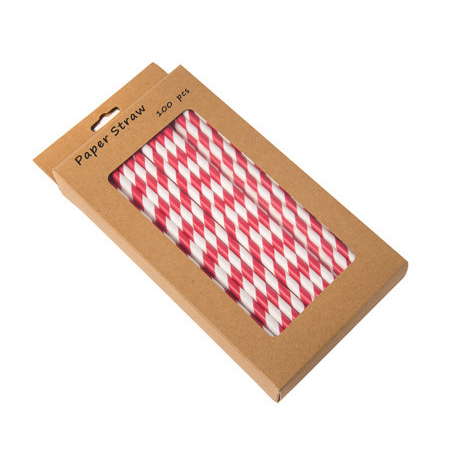 "203mm 8"" RED/WHITE PAPER STRAWS x 100 P/BOX"
