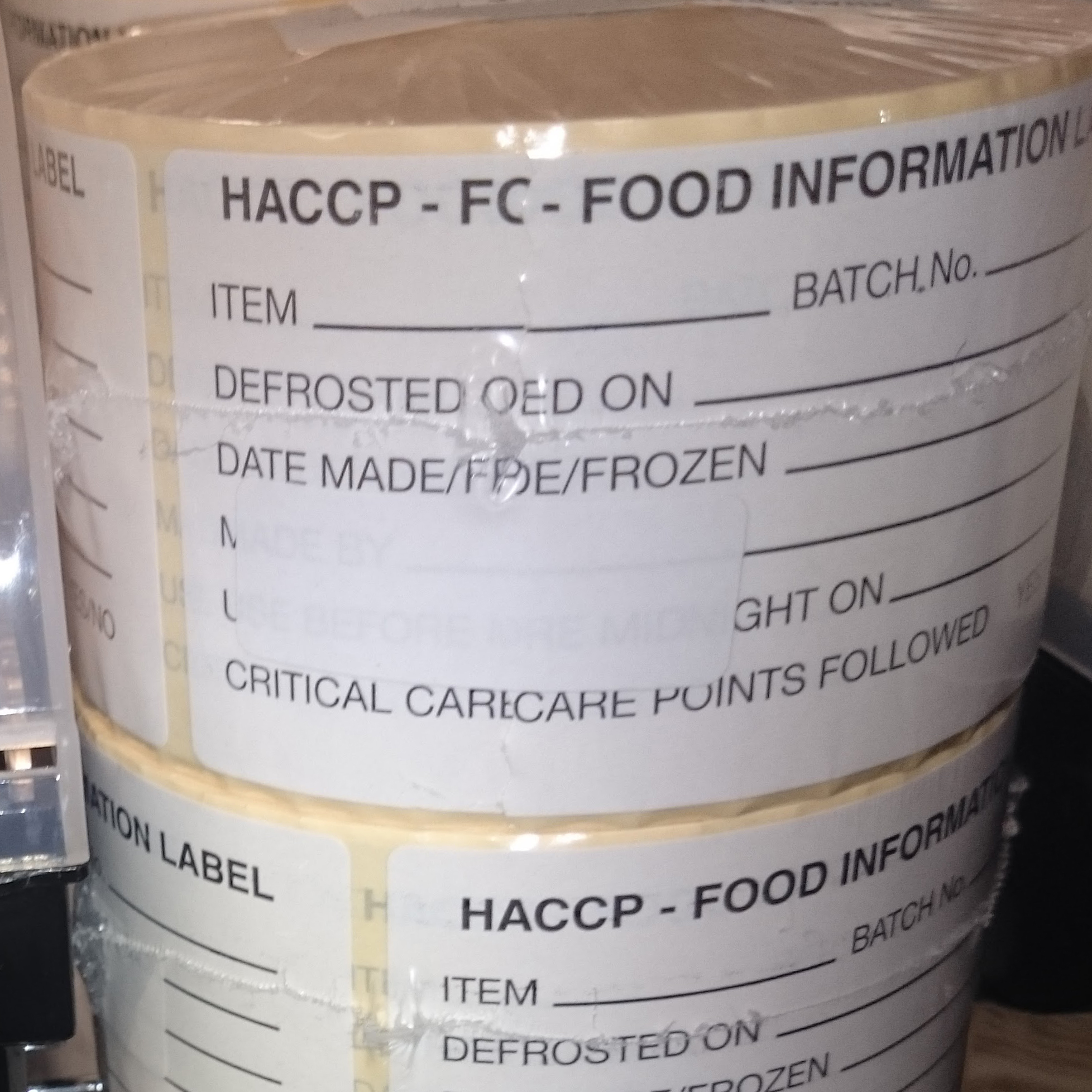 HACCP - FOOD INFORMATION LABEL per 500