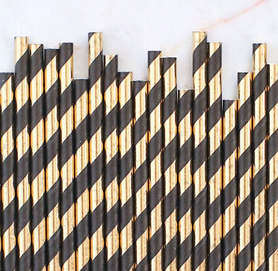 "203mm 8"" BLACK/GOLD PAPER STRAWS x 100 P/BOX"
