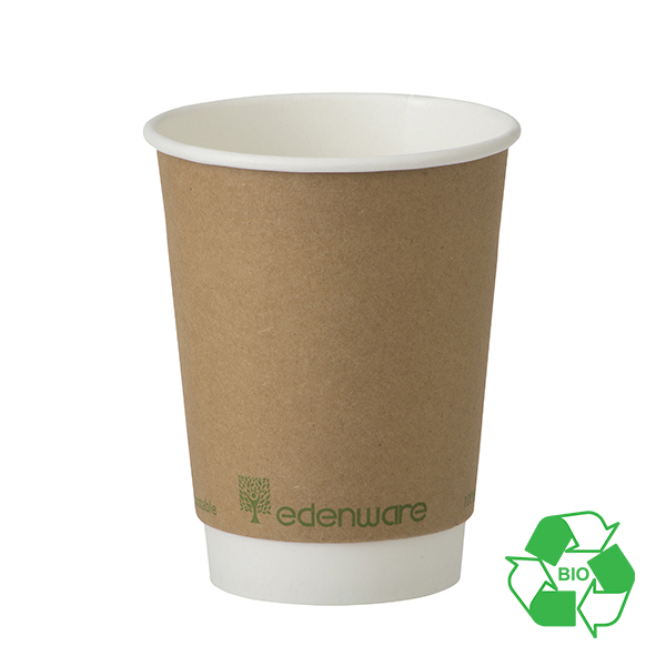 12oz EDENWARE DOUBLE WALL HOT DRINK CUP PLA LINING per 500