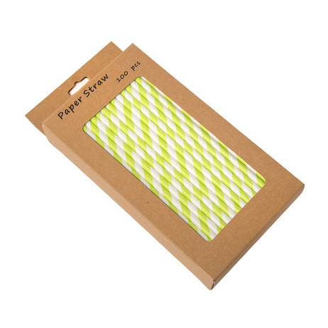 "203mm 8"" GREEN/WHITE PAPER STRAWS x 100 P/BOX"