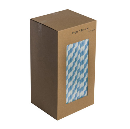 "203mm 8"" BLUE/WHITE PAPER STRAWS   BOX OF 250"