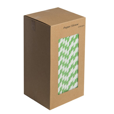 "203mm 8"" GREEN/WHITE PAPER STRAWS   BOX OF 250"
