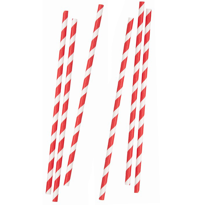 "8mm x 9"" SMOOTHIE RED/WHITE PAPER STRAWS        PACK OF 25"