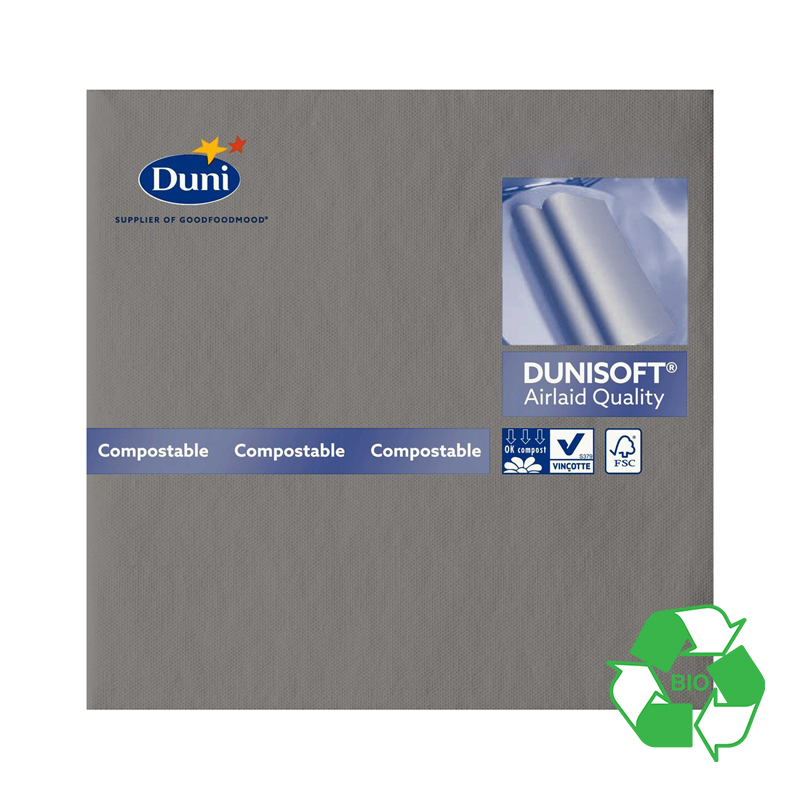 DUNI 40CM AIRLAID GRANITE GREY NAPKINS    156936  720 P/CASE