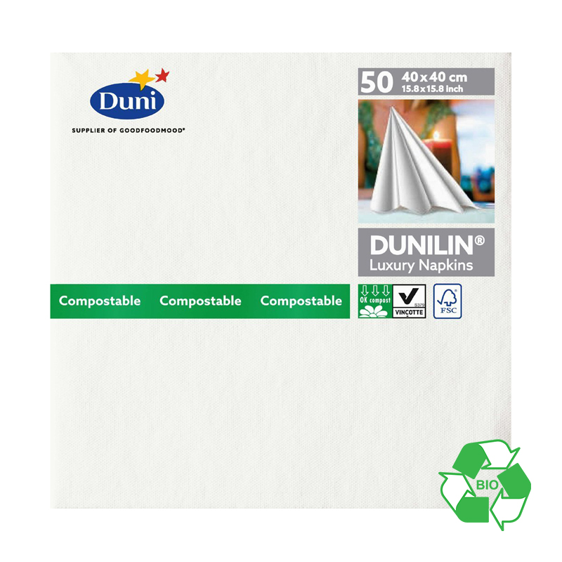 DUNILIN 40CM WHITE SERVIETTES CASE OF 600   230308