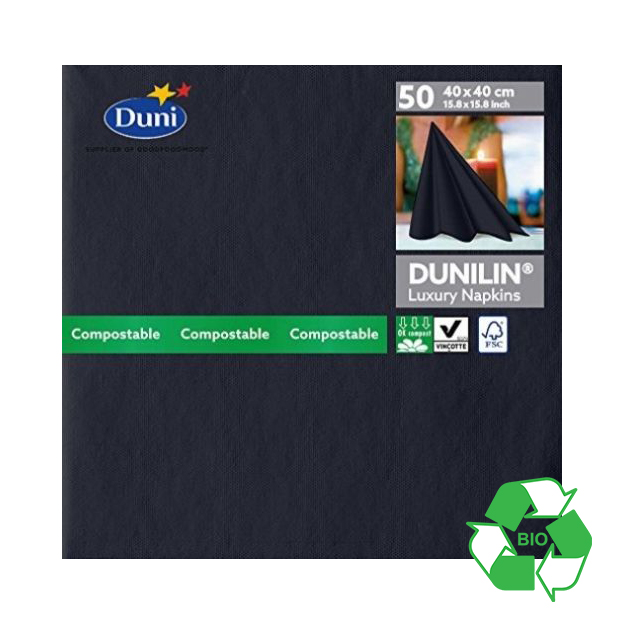 DUNILIN 40CM BLACK NAPKINS CASE OF 600     149086