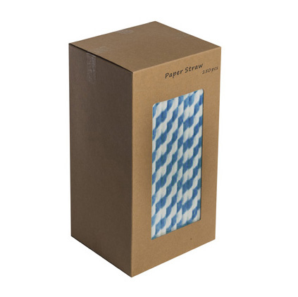 "203mm 8"" DARK BLUE/WHITE PAPER STRAWS   BOX OF 250"